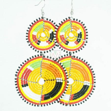 Tiered Light Orange Multi Color Maasai Beaded Earrings MM-619