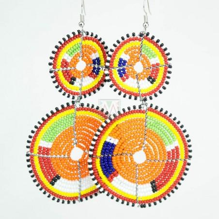 Tiered Orange Multi Color Maasai Beaded Earrings MM-622