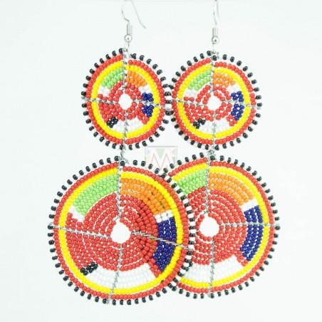 Tiered Red Multi Color Maasai Beaded Earrings MM-618