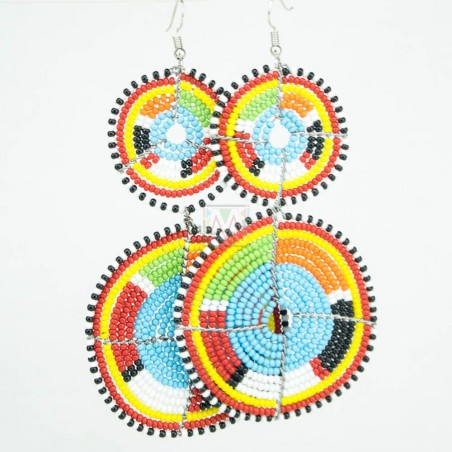 Tiered Baby Blue Multi Color Maasai Beaded Earrings MM-616