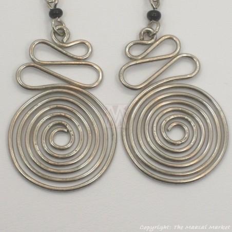Silver Wire Maasai Bead Spiral Earrings