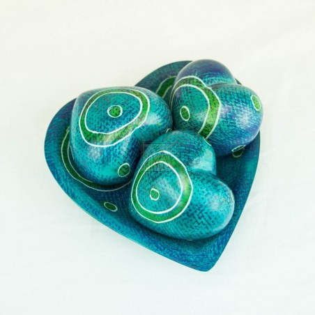 Blue Kisii Soapstone Handcarved Hearts and Bowl Set