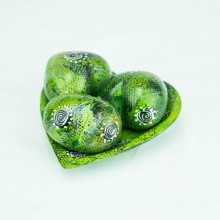 Green Kisii Soapstone Handcarved Hearts and Bowl Set