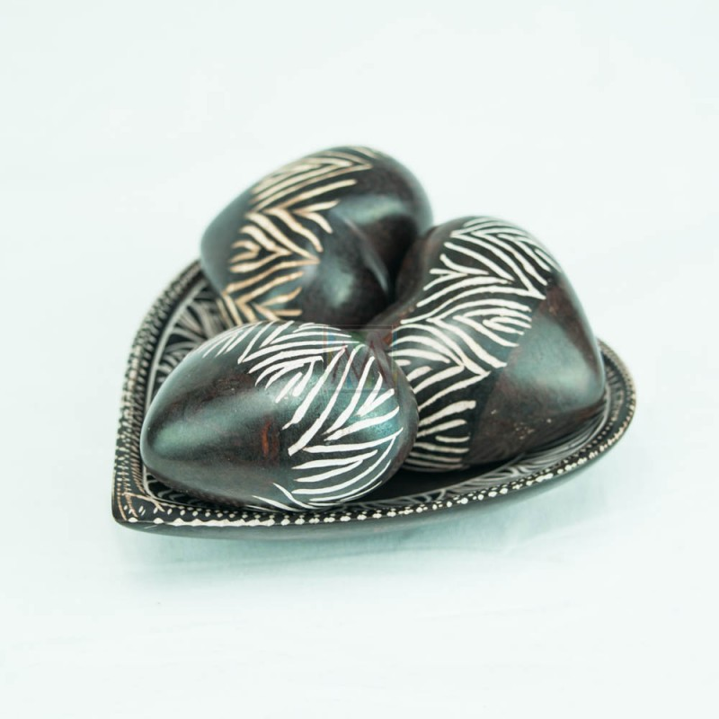 Brown Kisii Soapstone Handcarved Hearts and Bowl Set