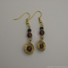 Brass Wire Color Bead Swirl Earrings Brown 2