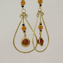 Ujasiri Brass Tear Drop Wire Earrings