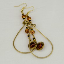 Ujasiri Brass Tear Drop Wire Earrings