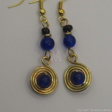 Brass Wire Color Bead Swirl Earrings Dark Blue 2