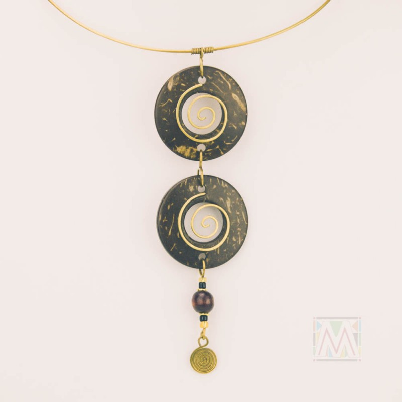 Mtende Tiered Coconut Shell Pendant Necklace