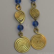 Brass Wire Color Bead Swirl Earrings Blue