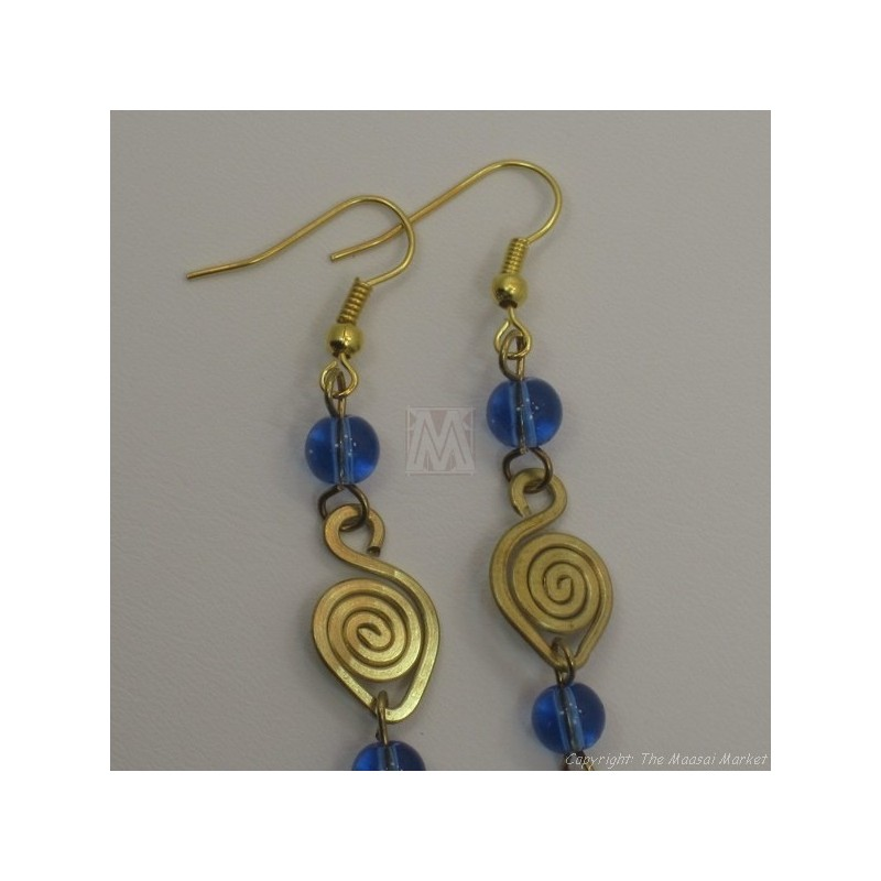 Brass Wire Color Bead Swirl Earrings Blue