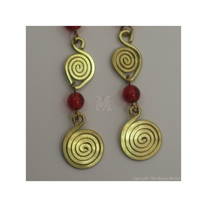 Brass Wire Color Bead Swirl Earrings Red 2