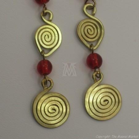 Brass Wire Color Bead Swirl Earrings Red 2