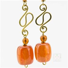 African Resin Hammered Brass Earrrings- Amber