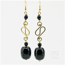 Black/ White African Resin Hammered Brass Earrrings