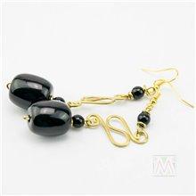 Black/ White African Resin Hammered Brass Earrrings