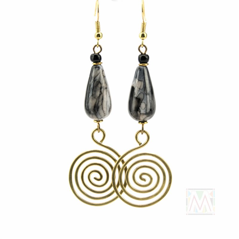 Coiled Brass Marbled Tear Drop Bead Earrings