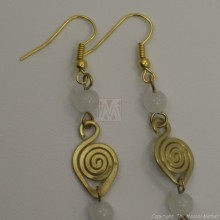 Brass Wire Color Bead Swirl Earrings White