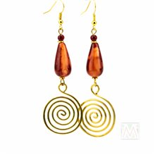 Marbled Tear Drop Bead Coiled Brass Earrings