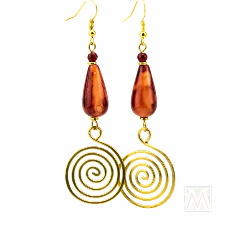Marbled Tear Drop Bead Coiled Brass Earrings