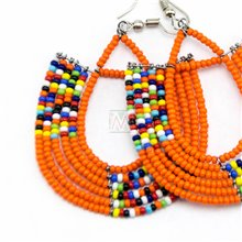 Maasai Glass Beads Multi Color Earrings MM-651-83