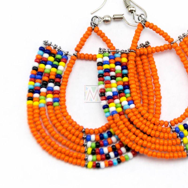 Maasai Glass Beads Multi Color Earrings MM-651-83