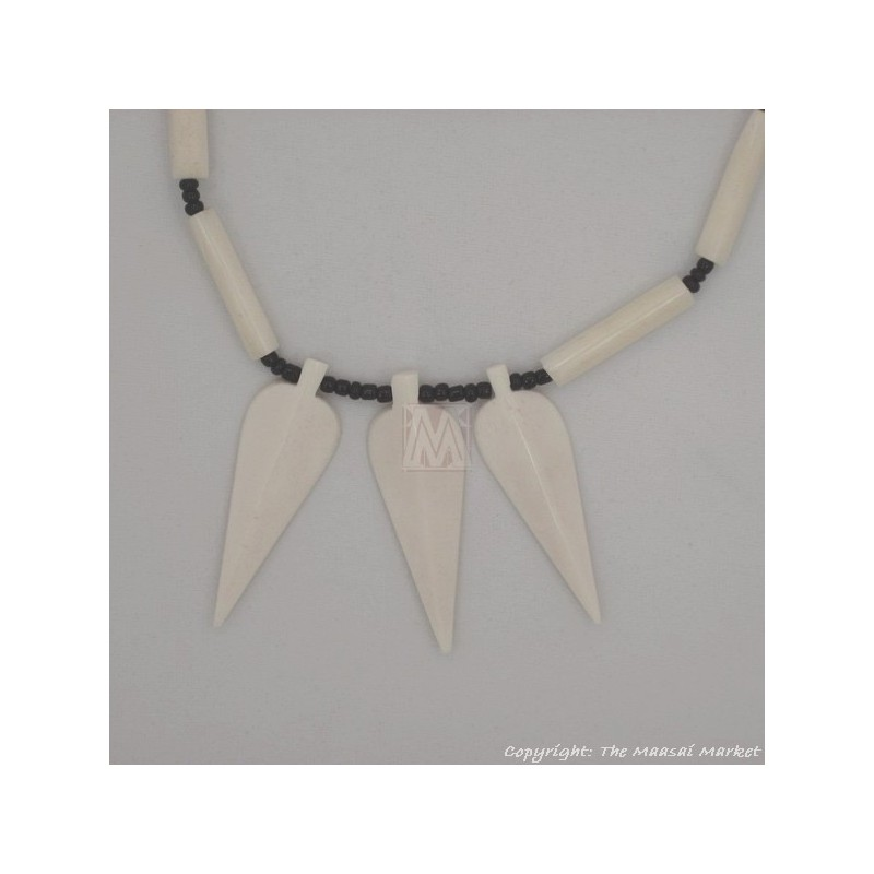 White Cow Bone Arrow Pendant Necklace