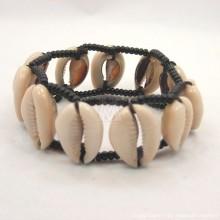 Maasai Cowrie Shells Elastic Bracelet (Black/ White)