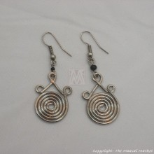 Silver Wire Maasai Bead Spiral Earrings