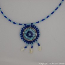 Maasai Blue Bead Shell Pendant Necklace