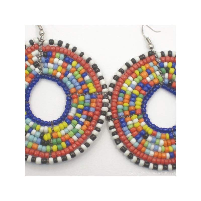 Large Round Multi Color Maasai Earrings