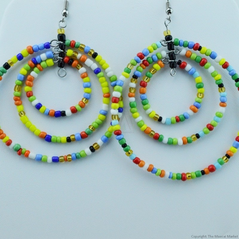 Multi Color Maasai Bead Loop Earring 657