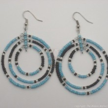 Black/ Blue Maasai Bead Loop Earring 658