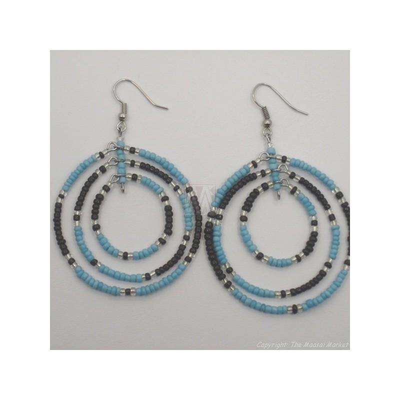 Black/ Blue Maasai Bead Loop Earring 658