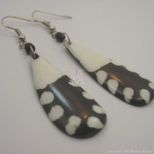 Mudcloth Print  Bone Tear Drop Earrings 673-8