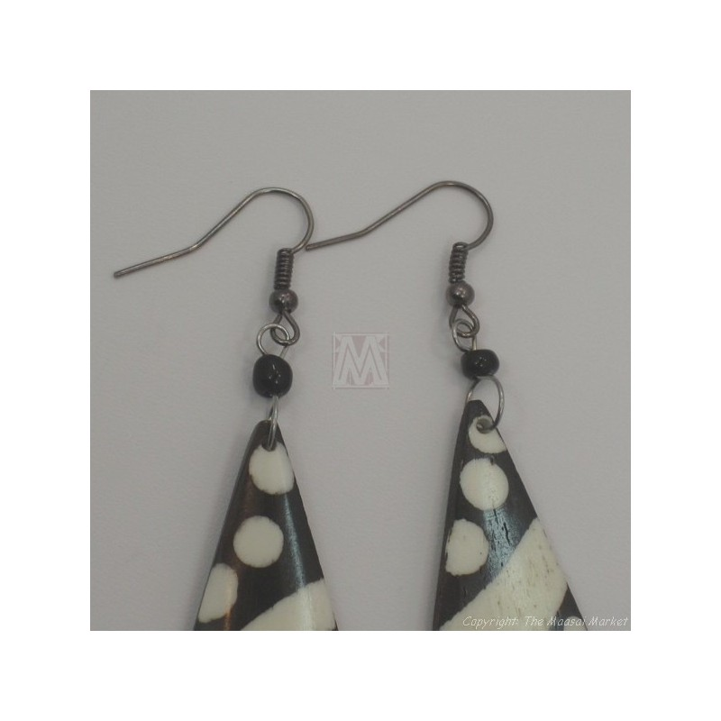 Mudcloth Print  Bone Earrings 674-8