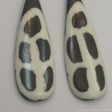 Large Giraffe Print Tear Drop Bone Earrings 676-23
