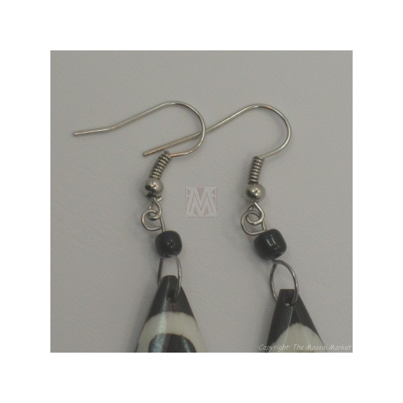 Small Giraffe Print Tear Drop Bone Earrings 676-24