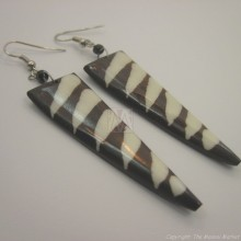 Mud Cloth Print Bone Earrings 678-24