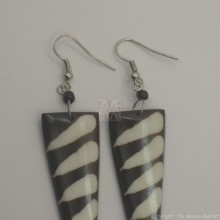 Mud Cloth Print Bone Earrings 678-24