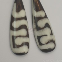 Mud Cloth Print Bone Earrings 679-24