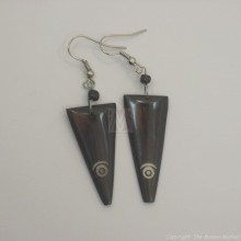 Brown Etched Bone Earrings 680-22
