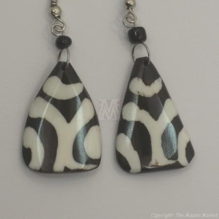 Mudcloth Print  Bone Triangle Earrings 682-8