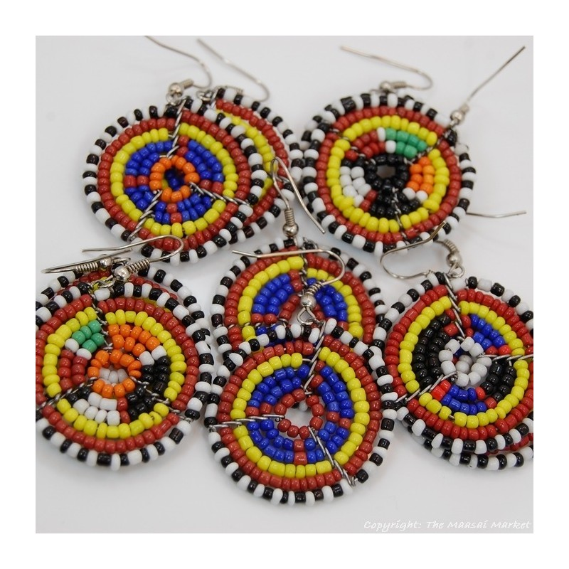Small Masai Bead Multi Color Dangle Earring 689-94-2
