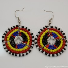 Small Masai Bead Multi Color Dangle Earring 689-94-3