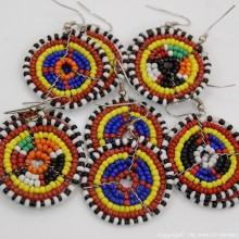 Small Masai Bead Multi Color Dangle Earring 689-94-4