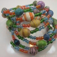 Coiled Wire Wrap Masai Paper Bead Bracelet 587-84