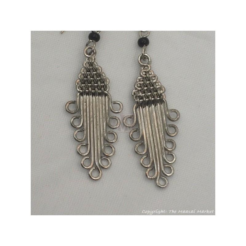 Silver Wire Maasai Bead Arrow Head Earrings
