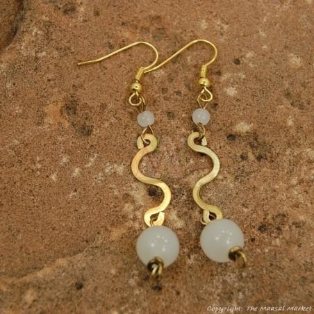 Brass Swirl Color Bead Earrings 695-1-81