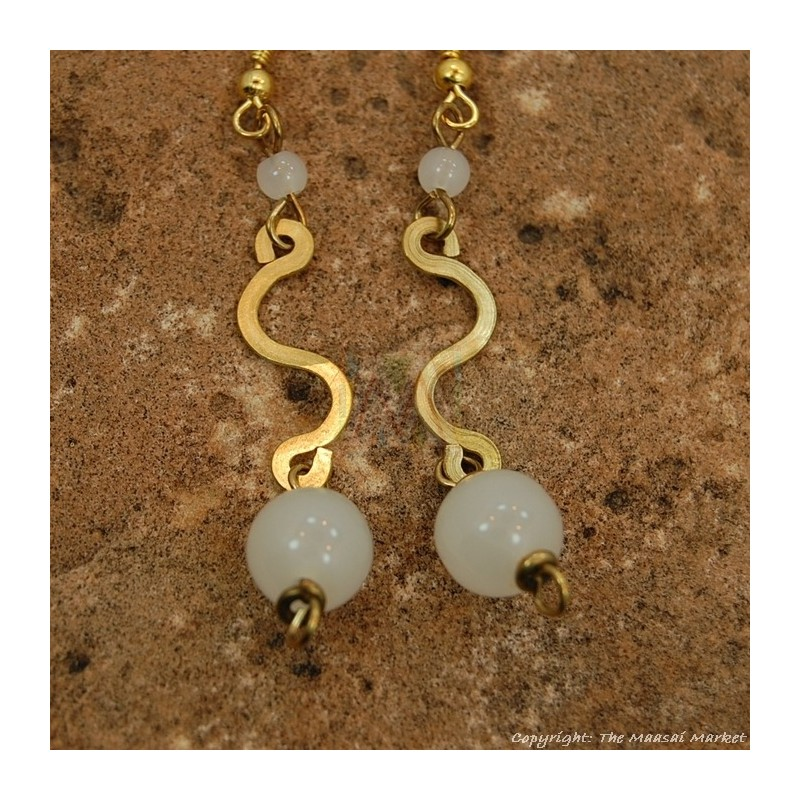 Brass Swirl Color Bead Earrings 695-1-81